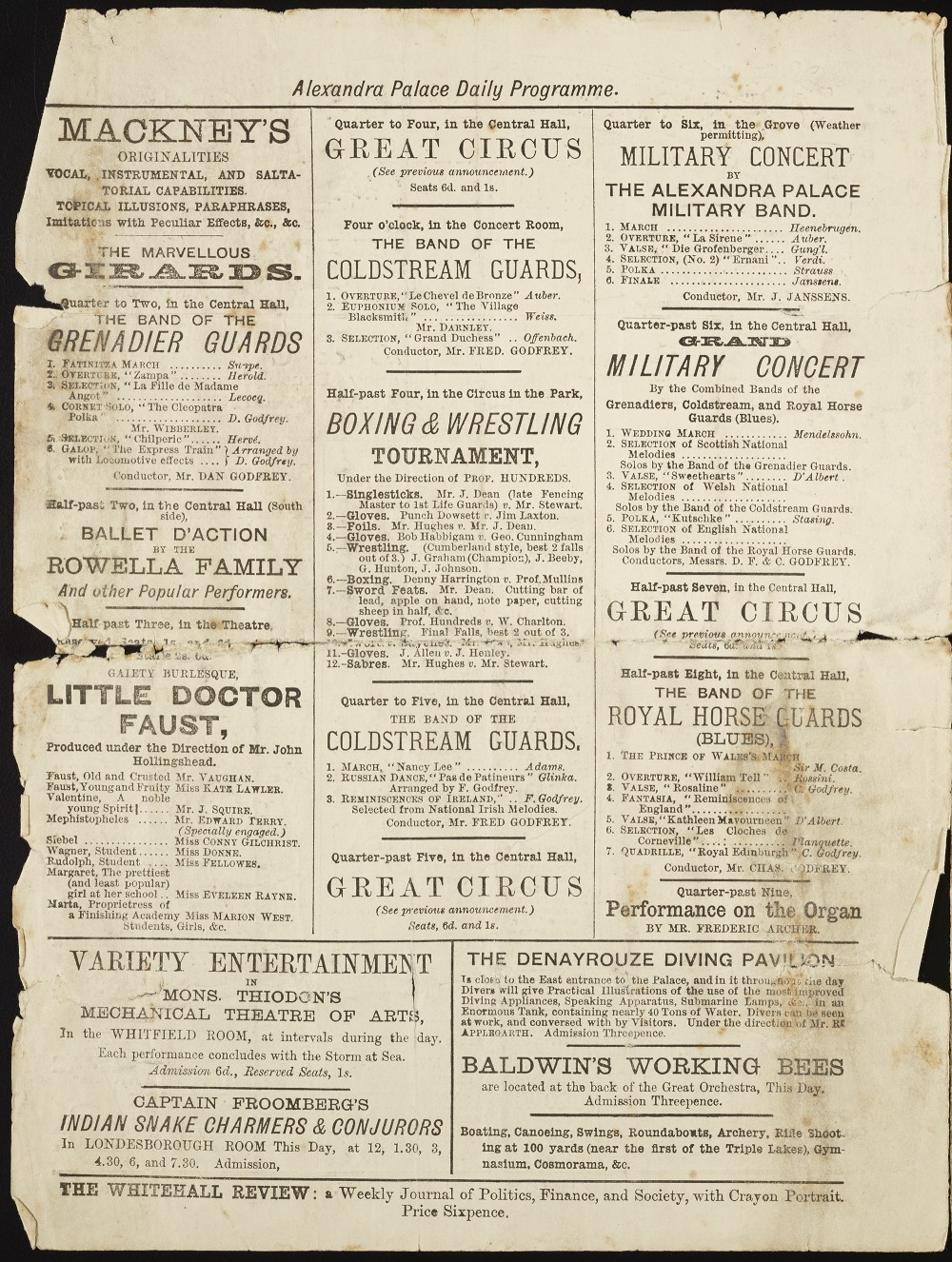 Alexandra Palace Programme, April 22nd 1878