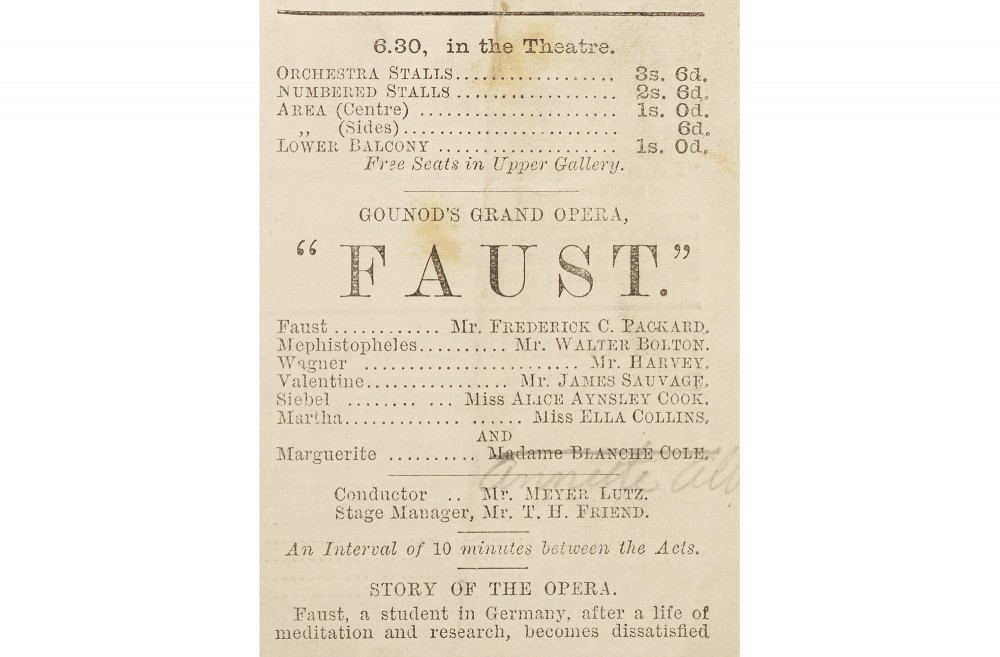 Faust ad from Alexandra Palace Programme 28 May 1881